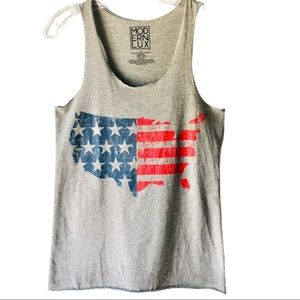 Modern Lux American Flag 4th of July grey tank top